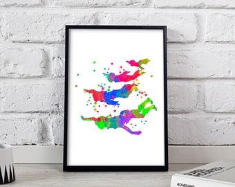 Peter Pan print, Peter Pan watercolor, Peter Pan art, Disney print, Disney art, Disney nursery, Dursery decor, Peter Pan decor, Gift poster