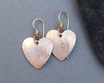 Hammered Bronze Heart Earrings Textured Bronze Dangles with 14k Pink Gold Filled Ear Wire Modern Metal Jewelry Eighth 8th Bronze Anniversary