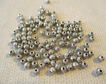 100 Silver Spacer Beads | 3 mm | Metal Beads | Spacers | For Necklace | For Jewelry | For Bracelet | Ball Beads | Silver Beads | Round Beads