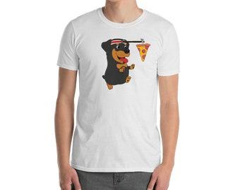 Funny Rottweiler Shirt, Running Pizza Lover T-Shirt, Cute Rottweiler Dog Gift