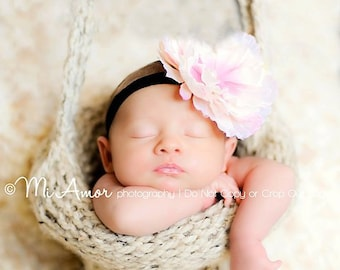 Knitted Hanging Basket photography prop for those special little ones shown in oatmeal and pink