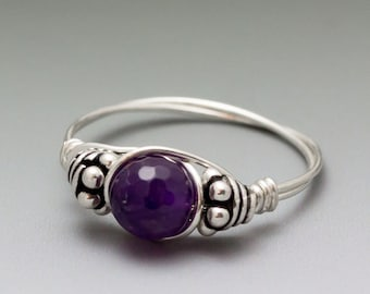 Amethyst Faceted Bali Sterling Silver Wire Wrapped Bead Ring - Made to Order, Ships Fast!