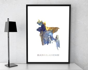 Bangladesh poster, Bangladesh art, Bangladesh map, Bangladesh print, Gift print, Poster