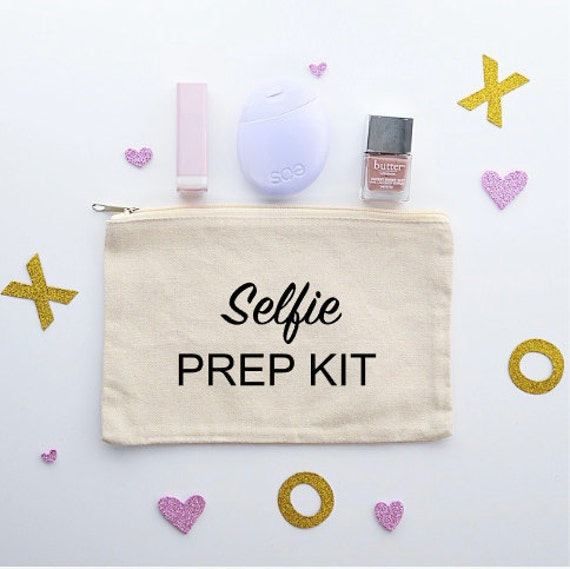 Canvas Cosmetic Bag: Selfie Prep Kit - Makeup Bag