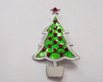 ON SALE Retro Enameled Rhinestone Christmas Tree Pin Item K # 80
