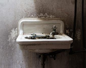 Sink Photograph, Bathroom Decor, Bathroom Art, Abandoned Photography, Urbex Art, Urban Decay, Industrial, Theater Photograph, Gift Under 50
