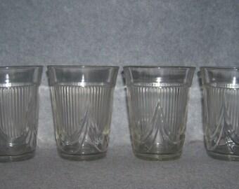 Antique Jenkins Glass Drape Pattern Flat Tumbler Juice Glass EAPG Set of 4