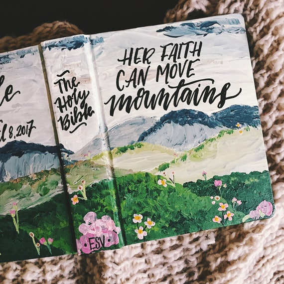 Hand painted bible cover, landscape bible art, personalized gift for her, scripture gift, bible journaling, Mother's day gift, bible gift