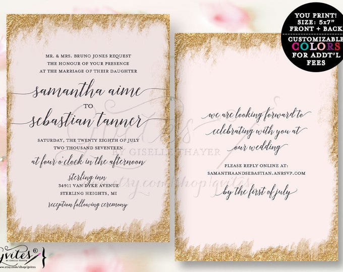 Pink and Gold Wedding Invitation, blush pink gold printable wedding invite, bling elegant, glitz and glam, glitter. Digital File!