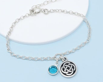 Personalised Celtic Knot Bracelet, birthstone crystal, initial, gift for her, infinity, irish jewellery