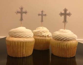 Beautiful Silver & White Cross Cupcake Toppers