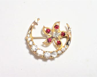 Art Deco Rhinestone Cresecent and Flower Rolled Gold Watch Brooch