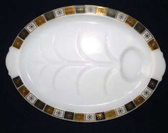 "Atomic Sunburst or Snowflake on Milk Glass 14 5/8"" Meat Tray or Platter with Meat Juice Wells, Black, Gold & White Snowflake"
