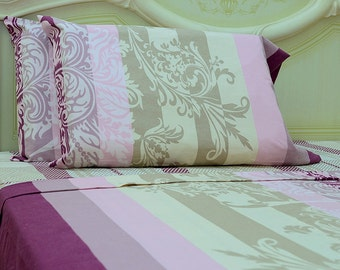 Goza Cotton 190 Gram Heavyweight Flannel Sheet Set Queen - Damask