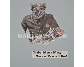 Cat Art One of a Kind Paper Collage, Retro Wall Art, Cat in Uniform, Weird Wall Decor, Anthropomorphic Art