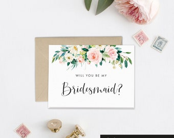 Bridesmaid Proposal Card, Will you Be My Bridesmaid Gift Idea, Maid of Honor Card, Wedding Card, Bridal Party Gift, Wedding Day Card, EB1