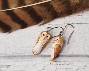 Barn Owl Earrings Little Owls Miniature Jewelry Animal Totem