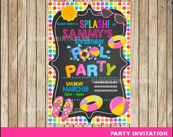 Pool Party invitation; Pool Party Birthday invitation, Chalkboard Pool Birthday Invitation Digital File
