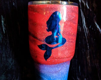 30oz Hand painted , resin coated with vinyl lettering and mermaid