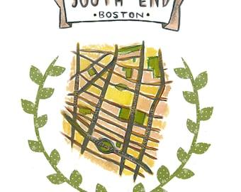 South End Boston Map -  FREE SHIPPING