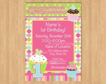 Cupcake birthday party invitation girl 1st birthday invitation Cupcake party Cupcake invite Cupcake invitation sweet treats birthday party