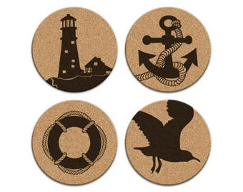 Lighthouse Anchor Seagull Life Preserver Nautical Coastal Cork Coaster Set Of 4 Home Decor Barware Decoration