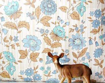 RESERVED FOR KELLIE Vintage Woodland Blue Floral Wallpaper 18 Yards