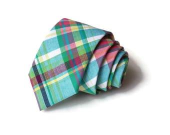 Madras Necktie~Anniversary Gift~Wedding Tie~Boys Necktie~Mens Necktie~Wedding~Mens Tie~Boys Tie~Easter Plaid~Turquoise~Green~Pink