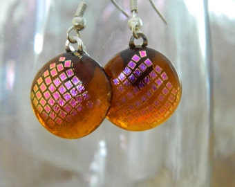 Fused Glass Long Dangle Earrings Fused Glass Amber Dichroic Squares Earrings