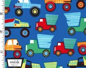 Little Mover Dump Trucks on Blue (Paintbox) from Michael Miller's Little Mover Collection