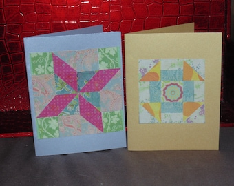 paper mosaic cards, quilt cards,set of 2 blank cards