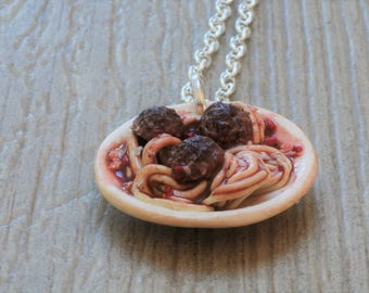 """Necklace """"Spaghetti and meatballs"""" polimere fimo clay"""