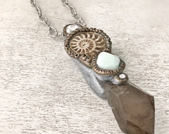 The Journey Within Necklace / Smoky Quartz / Ammonite / Peruvian Opal /  Polymer Clay