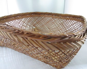 Vintage Large Handmade Open Weave Square Basket Woven Wicker Basket Large basket Large Square basket Open weave basket Large basket