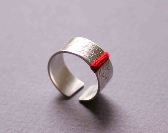 Sterling Silver Ring with Stamped Flowers and Red Thread, Wide band adjustable ring - Flower Shower - Custom made ring