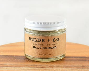 HOLY GROUND clay mask, pink clay mask, french green clay mask, bentonite clay mask, organic face mask, organic clay mask, exfoliant