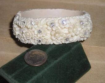 Vintage Celluloid Hinged Rhinestone Bracelet 1950's Flower Design Jewelry 11313