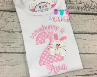 Somebunny is 2 birthday shirt - Some bunny is two - Girl bunny birthday shirt - 2nd birthday shirt girl - Pink bunny birthday outfit