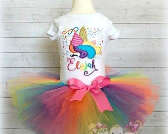 Unicorn birthday outfit - unicorn tutu birthday outfit - unicorn birthday shirt - rainbow unicorn birthday party - birthday unicorn dress