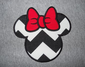 Made to order ~ Black Chevron Miss Mouse with Red Bow iron on or sew on applique patch