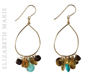 Turquoise and Citrine Hand-Shaped Hoop Earrings on 14K Gold Filled French Earwire