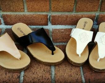 SALE - Monogrammed Low Wedge Sandals