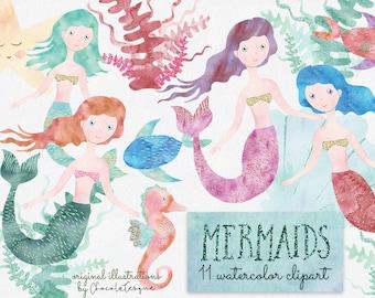 Mermaids | watercolor mermaids, mermaids clipart, mermaid invitation, cute clipart, mermaid party, undersea clipart, starfish, corals