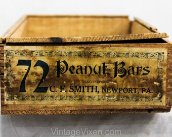 Civil War Era Food Box - Peanut Bars by C.F. Smith Newport PA - Antique 1800s Drygoods Wooden Candy Store Display Case with Lid - R2144