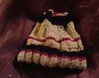Red, White and Black Hand-Knit Cap