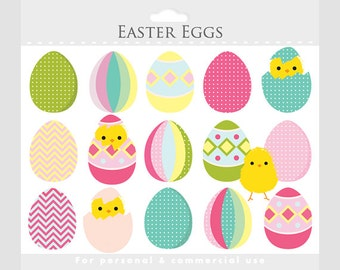 Easter egg clipart - Easter clip art, chicks, eggs, egg clipart, pastel, pink, blue, yellow, green, for personal and commercial use