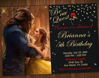 Beauty and the Beast Invitation, Princess Belle Birthday, Princess Belle Party