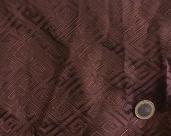 Silk sateen fabric, brown geometrical brocade woven print
