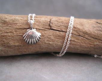 Tiny Scallop Shell Necklace - Silver Scallop - Small Fan Shell - Charm - Pendant -Ocean Charm - Minimalist Style