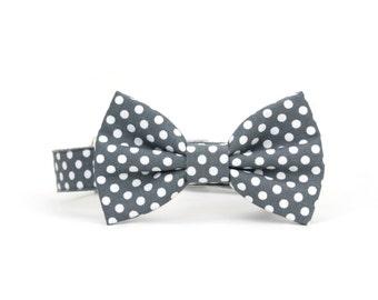 Grey Polka Dot Dog Bowtie Collar Wedding Dog Bow Tie Collar
